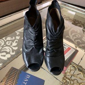 MANOLO BLAHNIK  Leather Peep-Toe Booties